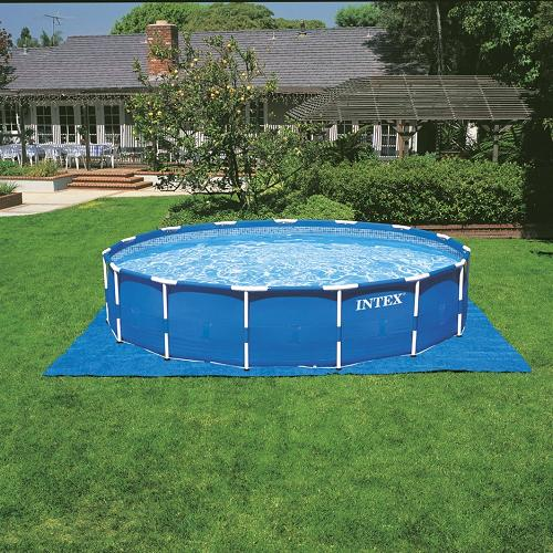 Metal Frame Pool Set 18 With Ladder Drop Cloth And Pool